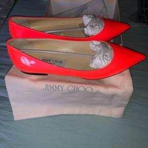 Jimmy Choo Adina FLAME Patent Leather Flat NIB 39